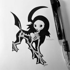 Skeletal Absol by WolfJayden on DeviantArt Pokemon Sketch, Pokemon Fan Art, Pokemon Stuff, Fossil Pokemon, Skeleton Drawings, Digimon, Tattoo Drawings, Concept Art, Pikachu