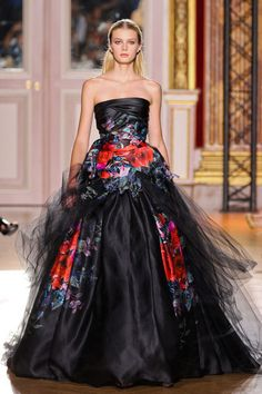 Red floral print strapless black gown | Zuhair Murad - Couture FW 12/13