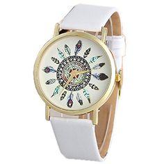 Ularmo Armbanduhr, Damen Uhr Feder Muster Bild Zifferblatt Lederarmband Einzigartige Watch (weiß) - http://uhr.haus/ularmo/ularmo-armbanduhr-damen-uhr-feder-muster-bild
