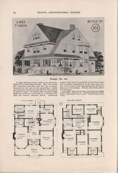 I love old house plans! This needs the servants quarters changed to a bunk house and a media room. Vintage House Plans, Vintage Homes, Cost To Build, Second Empire, House Blueprints, Sims House, N21, Building Plans, House Building