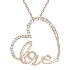 "1/10 CT TW Sim Diamond 14K Rose Gold Over Heart Mini Pendant 18"" Chain Necklace #jewelsbyeanda #HeartPendant #ValentinesDay"
