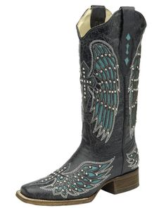 Corral Women's Wing and Cross Square Toe Boot - Black/Turquoise