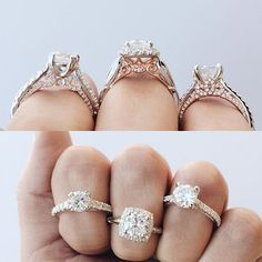 OMG these engagement rings are SO pretty! I love the rose gold details so much! OMG these engagement Engagement Ring Styles, Halo Engagement, Pretty Rings, Beautiful Rings, Jeffree Star, Wedding Bands, Wedding Day, Dream Wedding, Do It Yourself Fashion