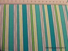 Tyrkis retro patchworkstof - striber - er et flot stykke tyrkis stribet patchworkstof