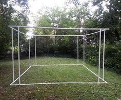 """Sukkah pvc frame (on original post). This design might be practical for a """"covered patio"""" for our camp kitchen (I like the corners for being sturdier. I wonder if this would work for an awning. Backyard Shade, Backyard Canopy, Garden Canopy, Canopy Outdoor, Pergola Diy, Pergola Plans, Cheap Pergola, Pergola Ideas, Patio Ideas"""