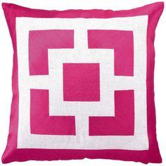 Trina Turk Pillow Embroidered Linen Palm Springs Blocks Pink @Sarah Nasafi Grayce $90