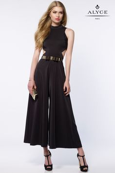 Alyce Paris 8000 is an ankle length stretch crepe prom jumpsuit with a halter style top, side cut outs and a metal belt at the waist. Prom Jumpsuit, Elegant Ball Gowns, Long Formal Gowns, Formal Wear, Formal Dresses, Tea Length Skirt, Prom Dresses 2017, Long Dresses, Dress Long