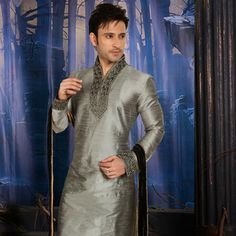 Grey Art Silk Readymade Kurta with Churidar
