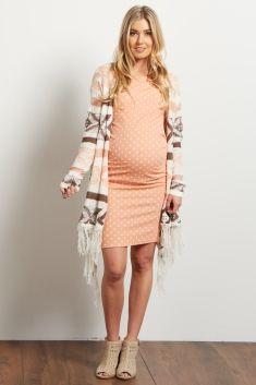 Pink Draped Tribal Striped Fringe Knit Maternity Cardigan