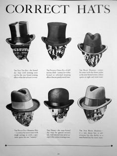Correct Hats for men Dandy, Vintage Outfits, Vintage Fashion, Edwardian Fashion, Sharp Dressed Man, Well Dressed, Hats For Men, Mens Derby Hats, Gentleman Style