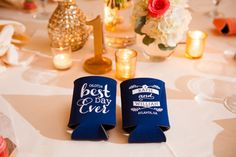 Fun koozies for a wedding favor   Elegant Pink and Gold Wedding