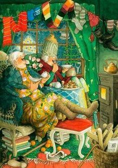 Inge Look Postkaarten 48 nuala art Illustration Amis, Illustrator, Art Fantaisiste, Whimsical Art, Super Funny, Funny Babies, Old Women, Love Art, Art Drawings