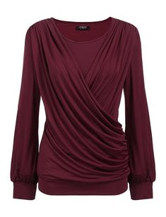 Women's Clothing, Tops & Tees, Knits & Tees, Womens Round Neck Stretchy Drape Front Tunic Blouse - Wine - Source by clothes tops Tunic Blouse, Tunic Tops, Blouse Outfit, Shirt Blouses, Cheap Boutique Clothing, Women's Clothing, Plus Size Kleidung, Blouse Styles, Skirt Outfits