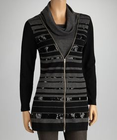 Take a look at this Black & Gray Sequin Cowl Neck Zip-Up Sweater - Women by Nancy Yang on #zulily today!