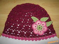 jarně letní čepička s kytkou pro obvod 48 51 cm a 51 53 cm Caps Hats, Crochet Baby, Beanie, Children, Inspiration, Projects, Patterns, Young Children, Biblical Inspiration
