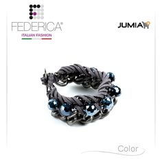 Bracelet ELISA 4  Woven chain bracelet with alcantara cord and stones. Grey/hematite. 3.500,00 Ksh http://www.federicafashion.com/it/ep184/bracelet-elisa-4/ http://www.jumia.co.ke/federica-fashion/