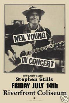 Classic Rock Neil Young at Riverfront Coliseum Concert Poster Circa 1978 | eBay