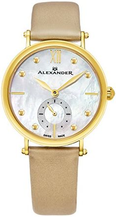 18871e9596d Alexander Monarch Roxana White Mother of Pearl Large Face Stainless Steel  Plated Yellow Gold Watch For