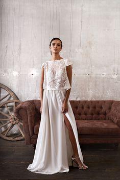 Modernes Brautkleid, Zweiteiler, Trendy und sexy, Brautkleid aus Top und Rock aus Seide, exquisit, schlicht, fließend, leicht