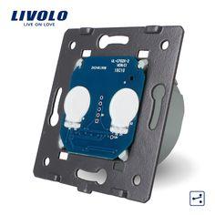 Produsen, livolo eu standard dasar saklar sentuh, 2 Gang 2 Way Beralih Kontrol Tanpa Kaca Panel, VL-C702S