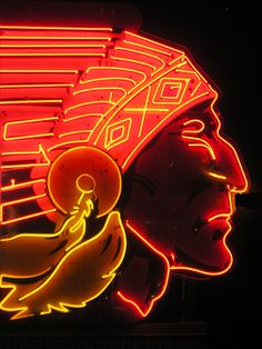 Chief Drive-In, vintage neon sign, Topeka by Keith Wondra Old Neon Signs, Vintage Neon Signs, Old Signs, Neon Sign Art, Advertising Signs, Vintage Advertisements, Custom Neon, Neon Rosa, Foto Gif
