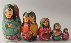 "Russian Nesting Painted Around Doll 5 PC'"" Eskimo"" by O Reshedko 