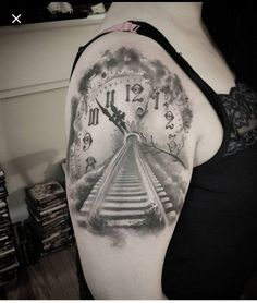 Clock train track tattoo - 100 Awesome Watch Tattoo Designs Tap our link now! Our main focus is Quality Over Quantity while still keeping our Products as affordable as possible! Hand Tattoos, Tattoos Masculinas, Time Tattoos, Black Tattoos, Body Art Tattoos, Sleeve Tattoos, Grey Tattoo, Seashell Tattoos, Mermaid Tattoos