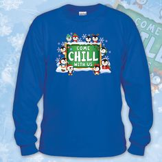 """Celebrate the holiday season at your school in festive """"Come Chill With Us"""" shirts from WorkPlacePro! Add your school name to the shirts with our personalized option, FREE on all orders of 12 or more. Personalization printing on Left Sleeve on Short Sleeve Shirts / Upper Back Medallion on Long Sleeve Garments  Get yours today at www.workplacepro.com"""