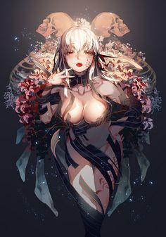 「黒桜」/「着香料」のイラスト [pix...@五更天采集到漫(398图)_花瓣