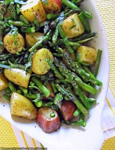 Roasted New Potatoes and Asparagus. Cooked this with a piece of marinated lemon pepper chicken. It was delicious!