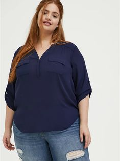 Harper- Navy Georgette Pullover Blouse, PEACOAT Plus Size Tops, Plus Size Women, Flare Top, Jeans And Flats, Georgette Fabric, Tunic Shirt, Off Shoulder Tops, Navy Tops, Workout Shirts