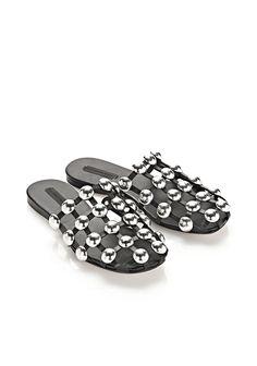 alexander wang - amelia suede sandal - black (no leather please)