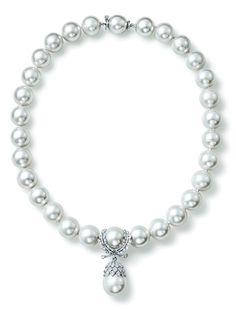 White gold, diamond and South Sea pearl wreath-pendant pearl necklace at Verdura, NY