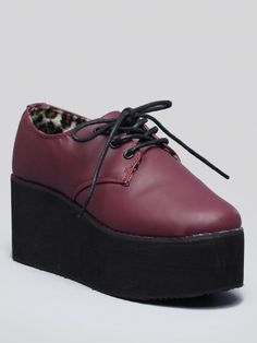 T.U.K Metallic Gypsy Velvet Creeper Womens Burgundy Textile Creeper Shoes