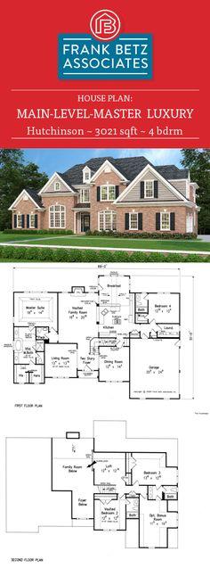 Hutchinson: 3021 sqft, 4 bdrm luxury house plan design by Frank Betz Associates Inc. Home Design Plans, Plan Design, Design Ideas, House Plans One Story, House Floor Plans, Island Cooktop, Frank Betz, Plan Front, Hip Roof