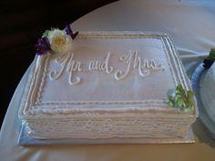 Ribbon wedding sheet cake