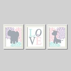 ELEPHANT Nursery Art Decor GIRAFFE Love by LovelyFaceDesigns, $29.00