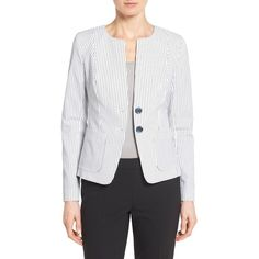 Nordstrom Collection 'City Stripe' Collarless Jacket ($298) ❤ liked on Polyvore featuring outerwear, jackets, striped jacket, nordstrom collection, tailored jacket, white collarless jacket and white jacket
