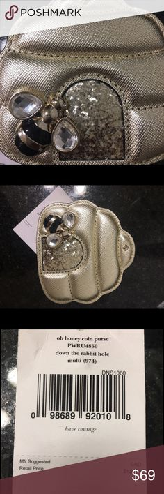 """♠️ Kate Spade Brand New!! Metallic gold """"0h honey coin purse ( PWRU4850) down the rabbit hole"""". Brand new tags attached!! kate spade Bags Wallets"""