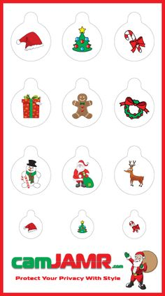The camJAMR Christmas Pack includes 9 designs: Santa Hat, Christmas Tree, Candy Cane, Present, Gingerbread Man, Wreath, Frosty the Snowman, Santa, Reindeer. Price: $4.99  camJAMR webcam covers are removable, reusable, durable and safe.   Protect Your Privacy With Style!