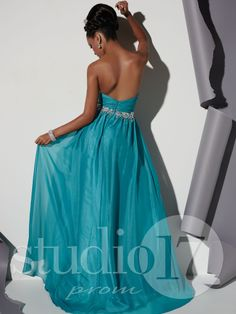 Studio 17 Style 12468: Strapless sweetheart neckline, shirred bodice with chunky beading at neckline and waist, A-line skirt. #prom #prom2014 #pageant #dress #specialoccasion #formalwear #studio17 #houseofwu