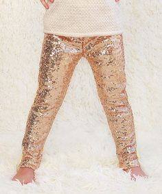 Loving this Rose Gold Metallic Sequin Pants - Infant, Toddler & Girls on #zulily! #zulilyfinds