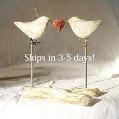 Rustic Wedding Cake Topper, Love Birds Hand Carved, White Wedding or Anniversary Decor/ Shabby Chic Cake Topper