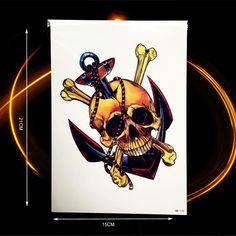 1PC Dead Devil Damon Skull Men Body Art Painting Tattoo Stickers Women Skull Arrows Temporary Tattoo Pirates of the Caribbean