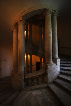 Adalberto Tiburzi, Gothic stone large spiral staircase with columns. Beautiful Architecture, Architecture Design, Staircase Architecture, Creative Architecture, Baroque Architecture, Classical Architecture, Historical Architecture, Stairway To Heaven, Spiral Staircase