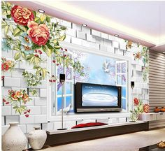 New large wallpaper Custom wallpaper waterfall Flowers mural 3D mural wall paper papel de parede wall stickers 201549 living roo