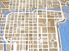 Chicago City Map Original Watercolor 10x8 Modern by SummitRidge