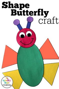 Preschool I love this butterfly craft for preschool and kindergarten aged kids. It's a perfect activity to work on shape and color recognition. The templat… - Preschool Children Activities Q Crafts For Preschool, Bug Crafts, Toddler Crafts, Preschool Shapes, Preschool Activities, Kindergarten Art Projects, Kindergarten Crafts, Caterpillar Preschool, First Grade Crafts