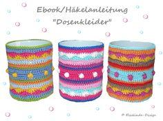 EBook crochet pattern cans dresses punnets by ElealindaDesign, Love Crochet, Knit Crochet, Crochet Things, Bottle Candles, Crochet Home Decor, Bottle Cover, Crochet Fashion, Baby Decor, Etsy