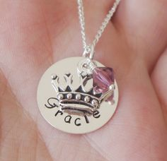 Princess Crown Necklace, Personalized Girls Necklace, Name Necklace, Little Girl Necklace, Gift for Niece, First Birthday, Child Name Gift